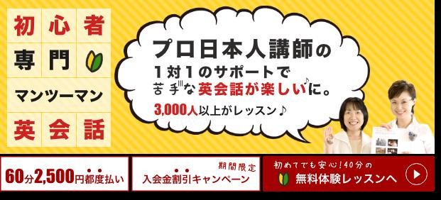 初心者専門のマンツーマン英会話スクールは勉強法も含めてプロ日本人講師がレッスンで教えてくれます